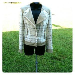 Elie Tahari Tweed with Leather Trim Moto Jacket